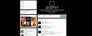 Aiden Grimshaw twitter page